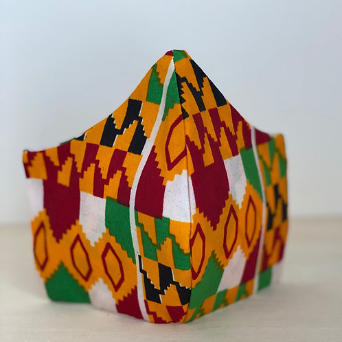 Face Cover- Ankara Collection (Africanprint-green&red)))