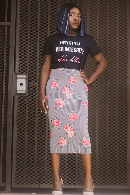 Fierced with Florals Pencil skirt
