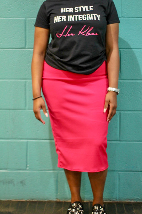 Slip-on Pencil Skirt- Fuchsia