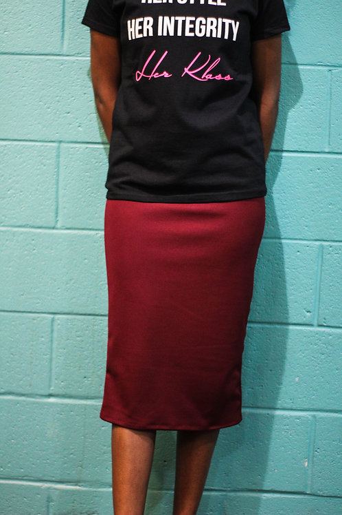Slip-on Pencil Skirt- Burgundy