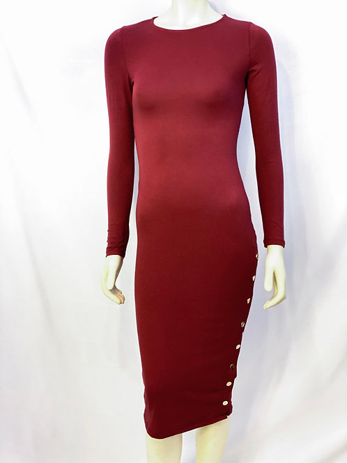Side Button Fitted Midi Dress-Burgundy