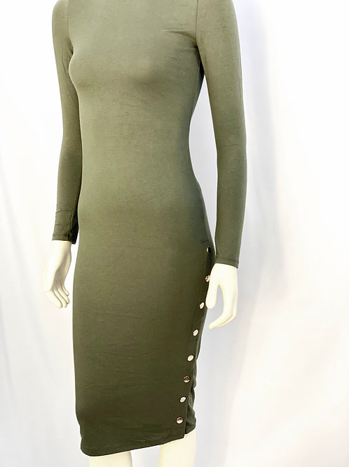 Side Button Fitted Midi Dress-Olive