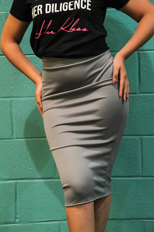 Slip-on Pencil Skirt- Grey