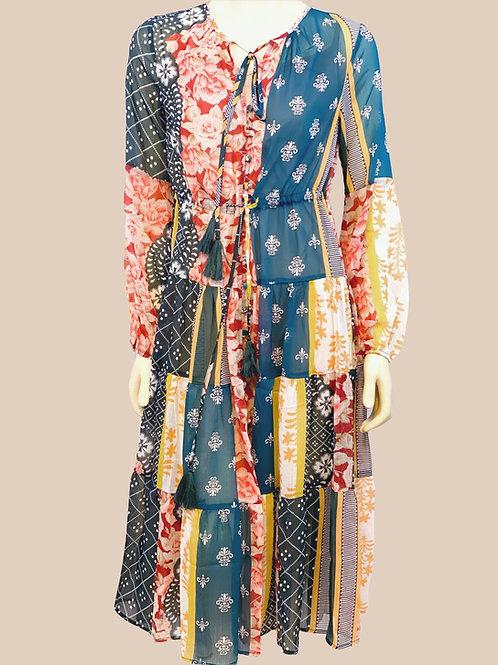 VintageTiered Button-down Dress