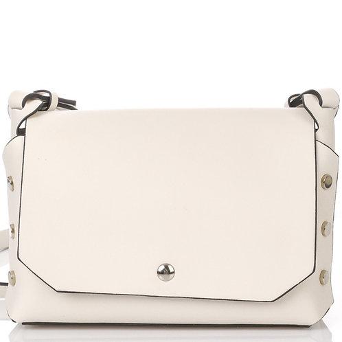 Stud Accent Shoulder Bag- Off White