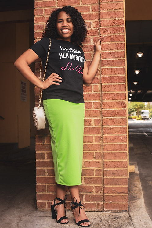 Slip-on Pencil Skirt- Key Lime Green