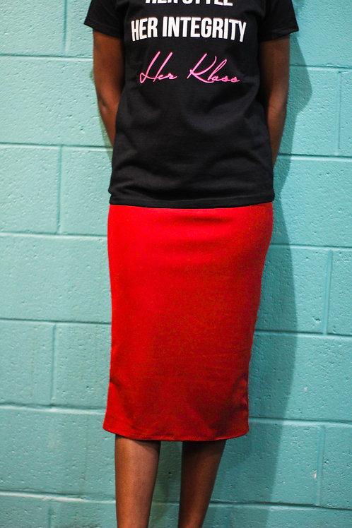 Slip-on Pencil Skirt- Red