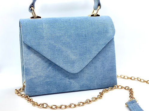 Washed Denim Clutch