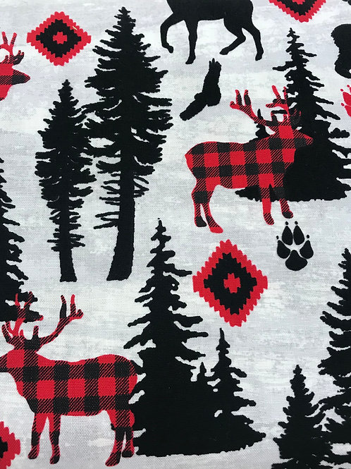 Face Cover- Deer Forest (Red&Black)