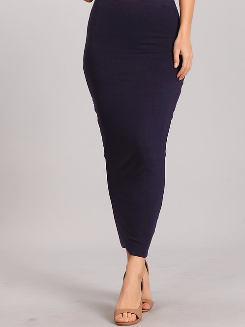 Bodycon jersey knit maxi skirt- Navy
