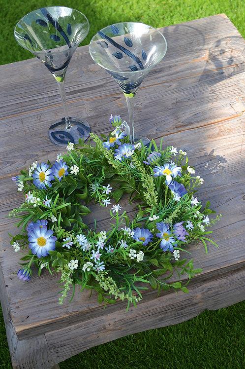 Deko Kranz Gänseblümchen blau