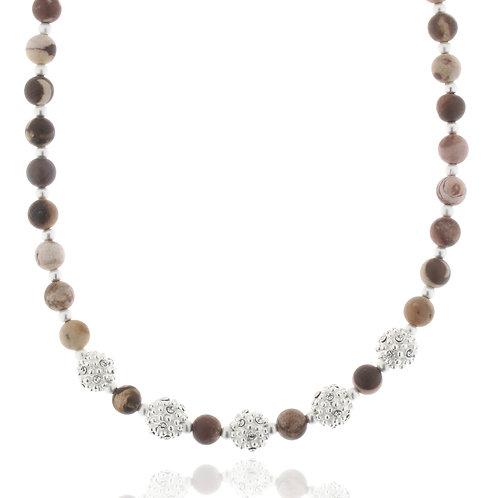 Collier versilbert 43+5 cm,Holzkugeln braun, Kristallsteine weiß