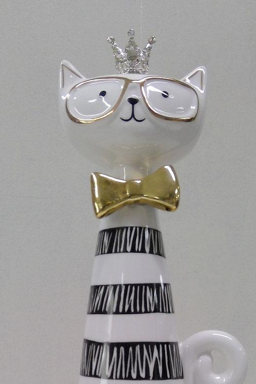 Katze mit Brille und Krone, modern ca 28 cm