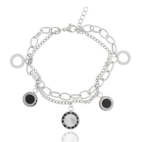 Armband, Edelstahl, geschwärzt, Perlmutt, 17 + 4 cm