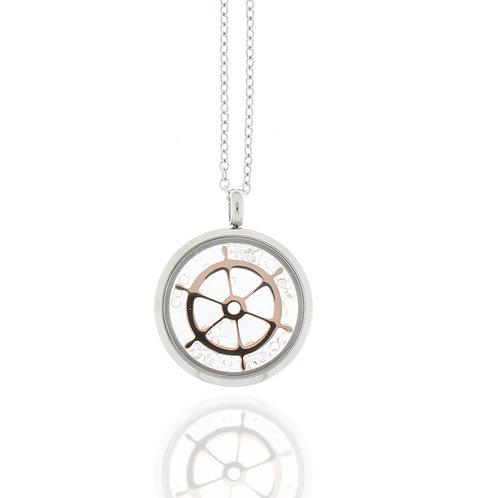 Collier, Edelstahl, Steuerrad, rosévergoldet, Kristallsteine, 23 mm Durchmesser