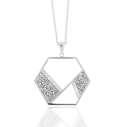 Collier, Edelstahl, Preciosa, rock crystal, 45 + 5 cm