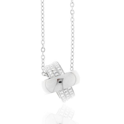 Collier Edelstahl, Kristallsteine weiß, 2 Ringe, 45 + 5 cm