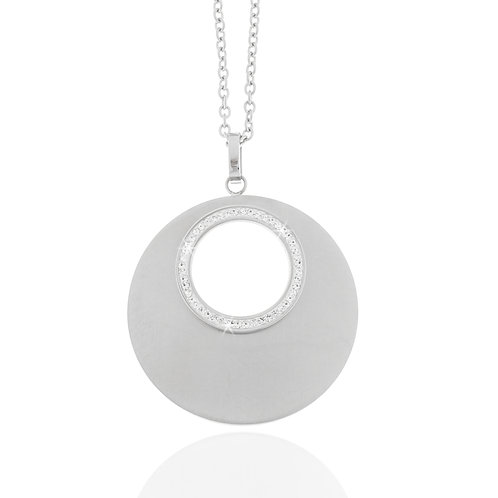 Collier, Edelstahl, Preciosa weiß, matt, 50 + 5 cm, Ø 3,5 cm
