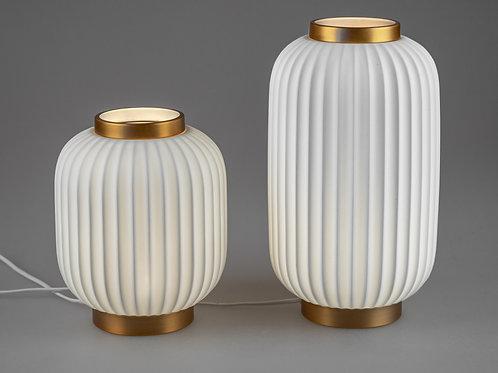 Lampe mit Rillen weiß/gold 19 x 33 cm