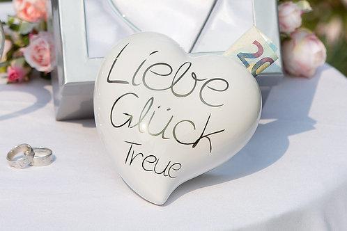 """Keramik Spardose """"Liebe"""" weiß/silber"""
