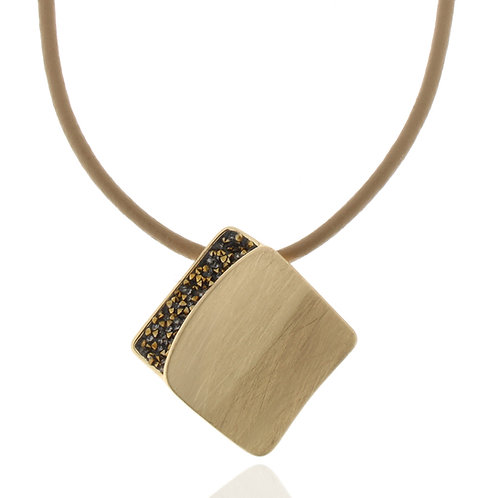 Collier vergoldet, Kristallsteine schwarz/gold,  Leder braun, 42 + 8 cm