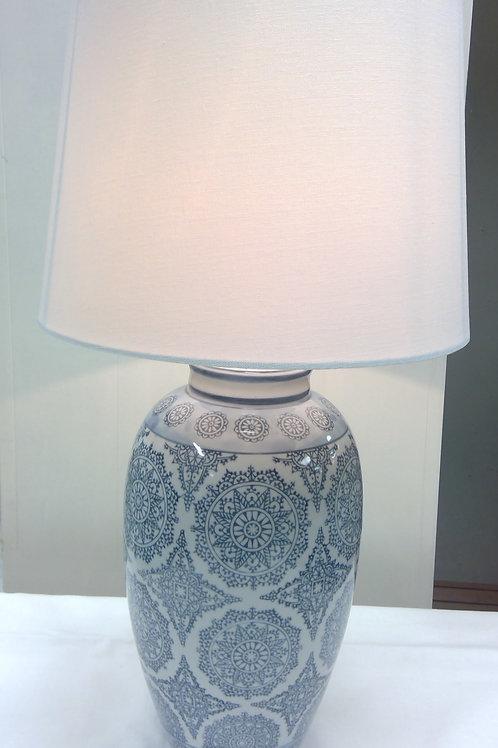 Große Keramik-Tischlampe weiß/blau