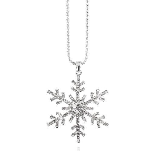 Collier, rhodiniert, Schneeflocke, Kristallsteine weiß, 85 + 8 cm