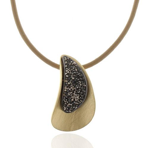 Collier vergoldet, Kristallsteine grau, Leder beige, 42 + 8 cm