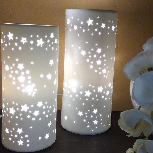 Lampe Sterne Porzellan weiß matt - 24cm