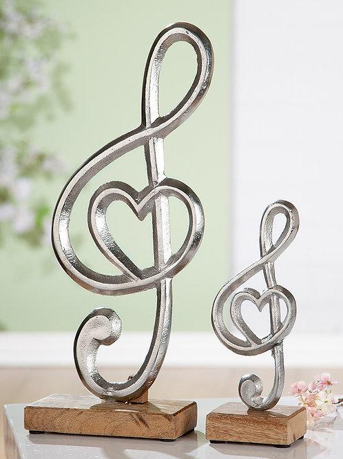 Alu Notenschlüssel mit Herz, Mangoholz 39 cm