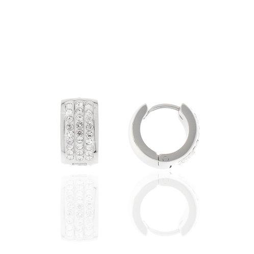 Creole Edelstahl, Kristallsteine weiß,12mm Durchmesser