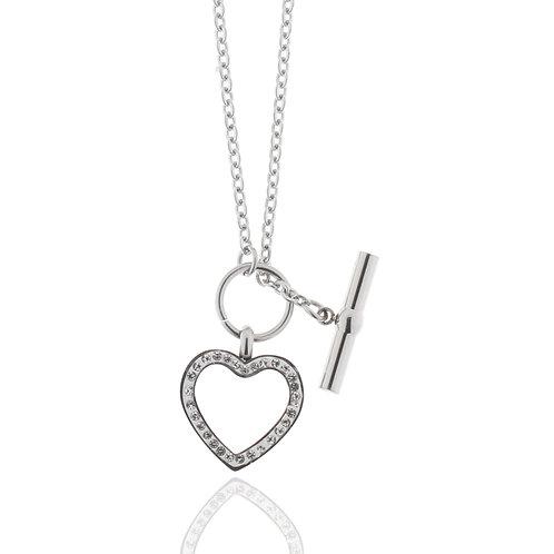 Collier, Edelstahl, Herz, Kristallsteine weiß, Verschluss vorne, 46 cm
