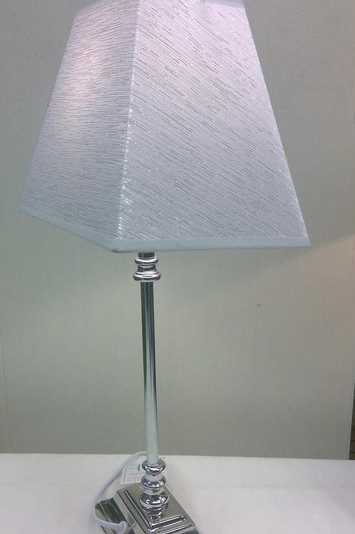 Tischlampe edles Design Lampenfuß Metall Schirm silber grau
