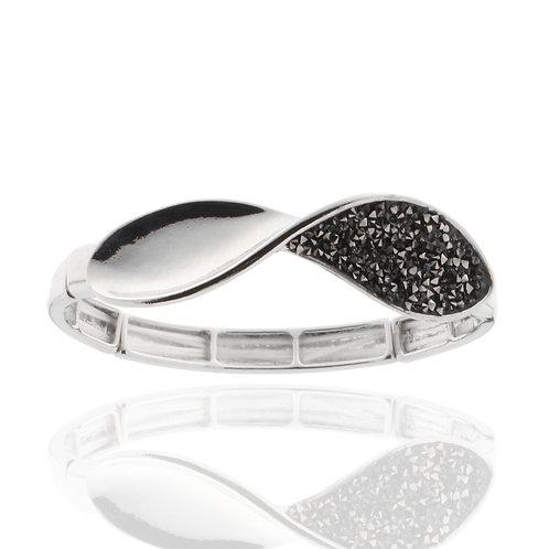 Armband rhodiniert, Kristallsteine grau, elastisch, nickel-, cadmium, bleifrei