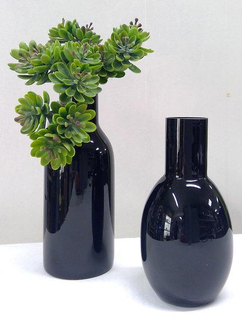 Glasvase schwarz bauchig
