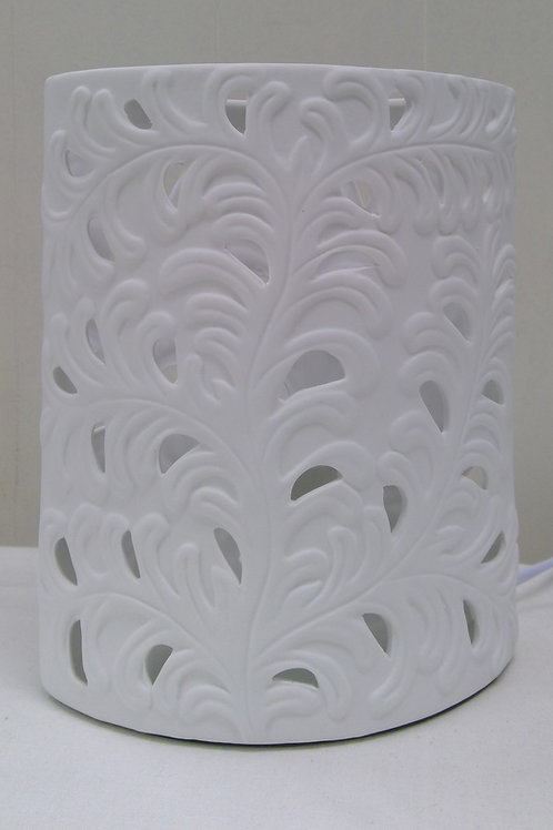 Tischleuchte Harmonie Oval Romantik weiß 17x21 cm