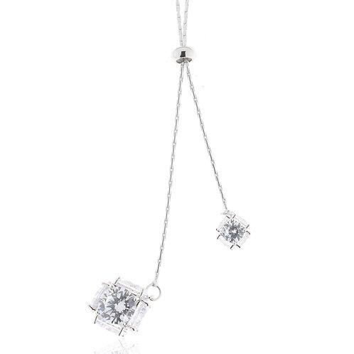 Collier, rhodiniert, Kristallsteine weiß, verstellbar, 101,5 cm