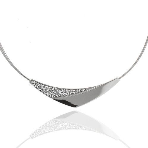 Collier, Edelstahl, Kristallsteine grau, Draht mehrreihig, 42 + 7 cm