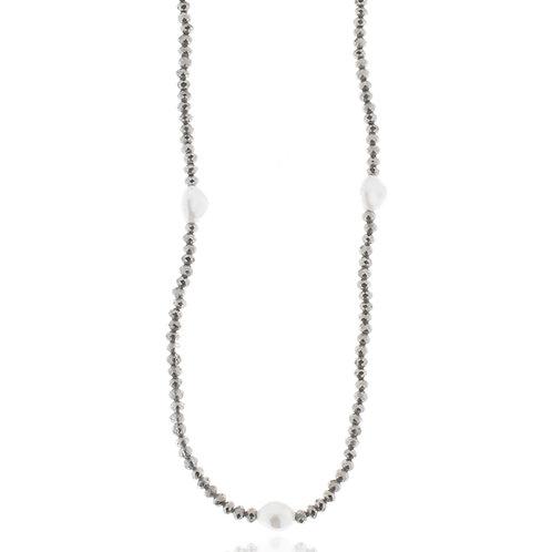 Collier, imitiertes Rhodium, Kristallsteine diamant black, 104 + 5 cm