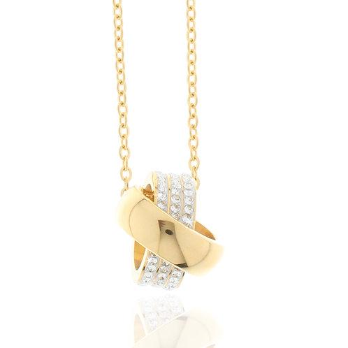 Collier Edelstahl vergoldet, Kristallsteine weiß, 2 Ringe, 45 + 5 cm