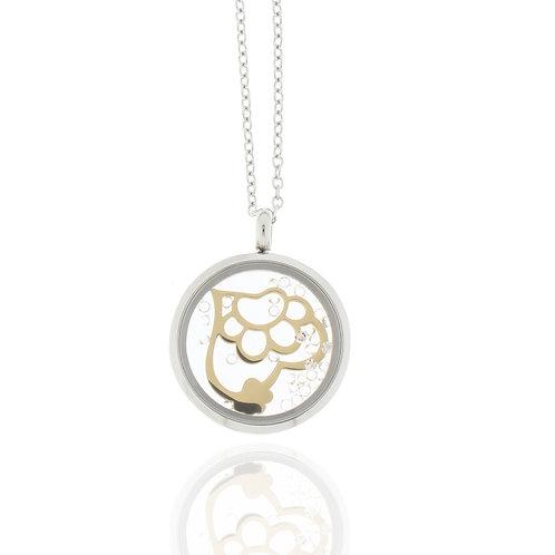Collier, Edelstahl, Tatze/Herz, vergoldet, Kristallsteine, 23 mm Durchmesser