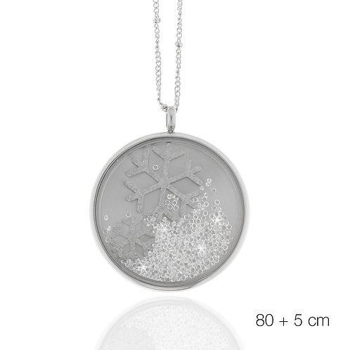 Collier, Edelstahl, Kristallsteine, Schneeflocke, silbern, 80 + 5 cm