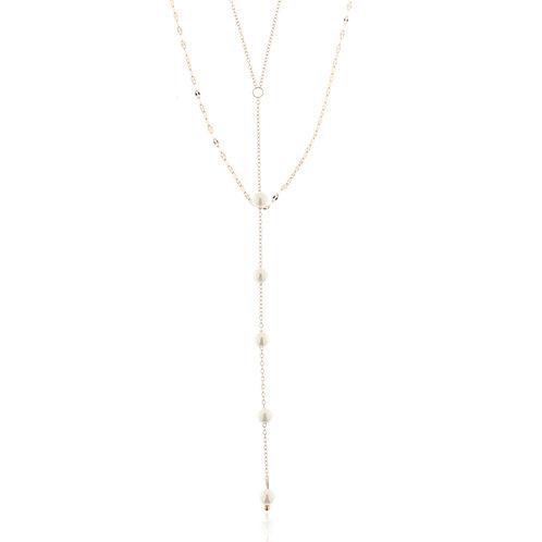 Collier, Edelstahl, rosévergoldet, 2-reihig, Perlen weiß, 45 + 5 cm
