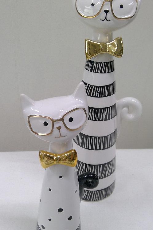 Katze mit Brille, modern 21 cm
