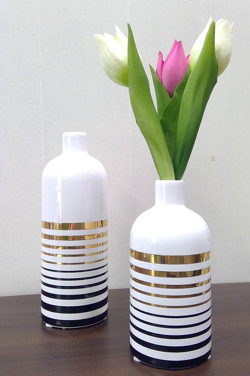 Flaschenvase im Retro Trenddesign 21cm gold/schwarz