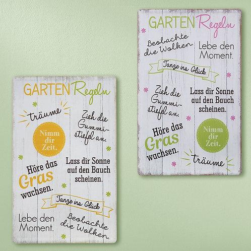 Metall Schild Gartenregeln verschiedene Farben