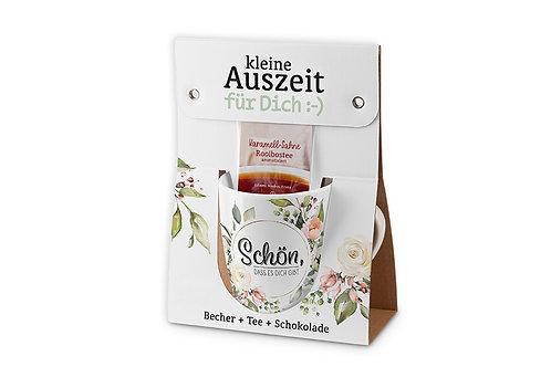 """""""Kleine Auszeit für Dich"""" Becher+Tee+Schokolade"""