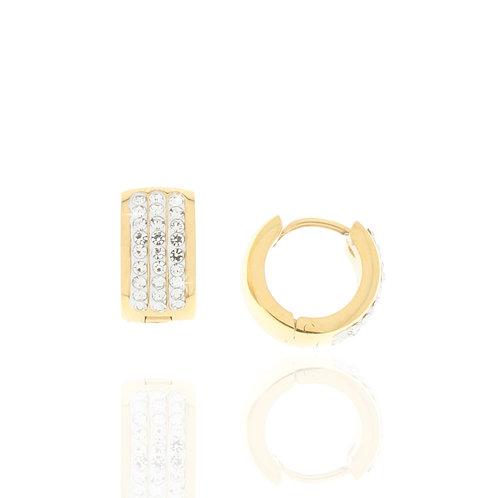 Creole Edelstahl vergoldet, Kristallsteine weiß,12mm Durchmesser