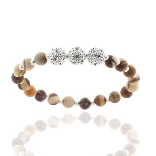 Armband versilbert 19 cm,Holzkugeln braun, Kristallsteine weiß