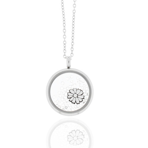 Collier, Edelstahl, Blümchen weiß, Kristallsteine, 23 mm Durchmesser, 42 + 5 cm